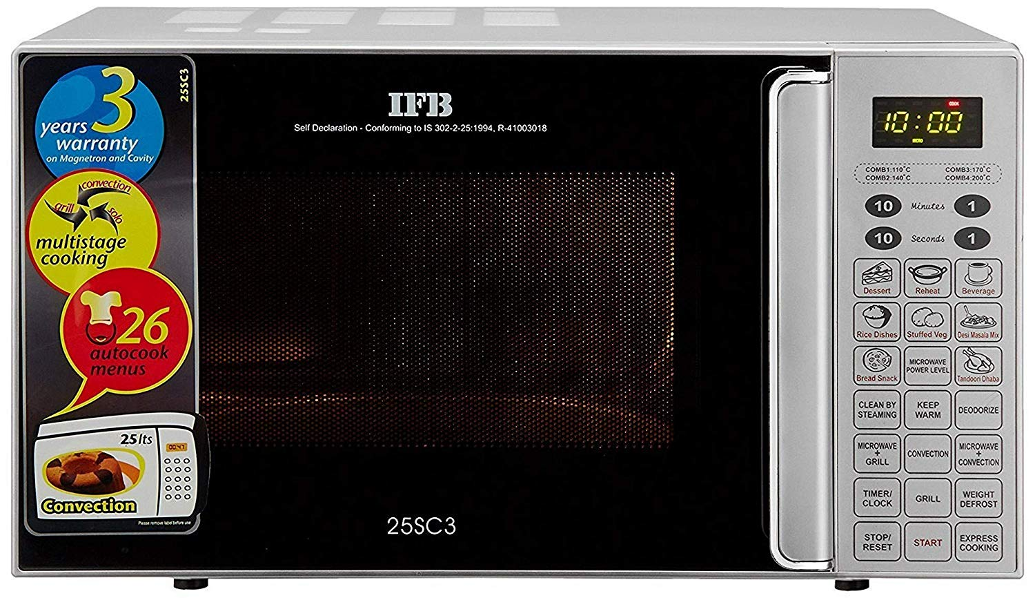IFB 25 L Convection Microwave Oven (Metallic Silver)